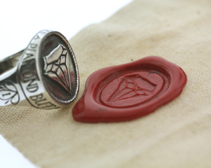 Brooklyn-based jewelry designer, Aaron Ruff, makes hidden treasures and relics including wax seal signets.