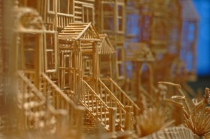 Scott Weaver spent 3,000+ hours of work on this elaborate kinetic sculpture comprised of 100,000 toothpicks.