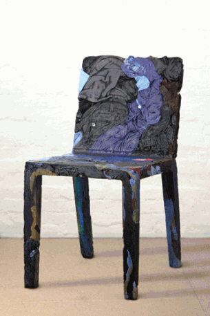 Tobias Juretzek's rememberme chair design is made of simply clothes and resin.