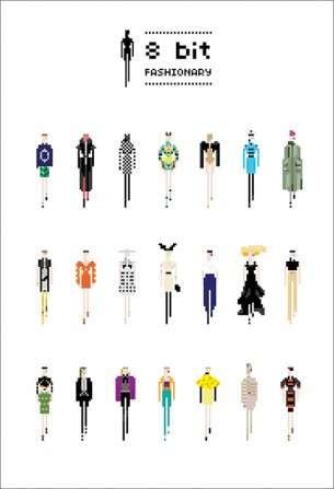 Fashionary uses retro video-game styled illustration to illustrate some of the fashion world's mavens.