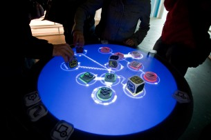 Reactable, by Arturo Castro, is a musical instrument based on the concept of modular synthesizers.
