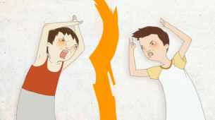 A short by Dongjie Zhu (China) depicts an imaginary war between two children using drawings as weapons.