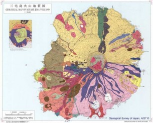 Geological diagrams of Japanese volcanoes using colors to identify different rock units, ages and layers of lava.