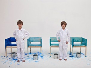 Child labor has never been so charming—Lucas Maassen (Netherlands) employs his three sons to paint his furniture collection.