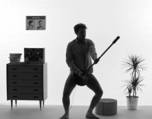 "Norwegian musician Mikhael Paskalev dances in his undies while breaking things in the music video for his song ""I Spy""."